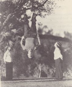 Buster upside down with his sons Bobby and Jim- what a fun dad he must have been