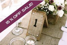 Wood & Burlap Rustic Country Wedding Table by MiniBakerShop