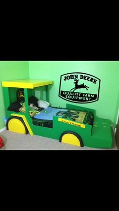 Love the toddler bed! Will go perfectly with the giant John Deere puzzle that Jay's grandparents are putting together for his birthday. Toddler Rooms, Baby Boy Rooms, Toddler Bed, Tractor Room, Deer Bedding, Wall Logo, Dream Rooms, Kid Beds, Cool Baby Stuff
