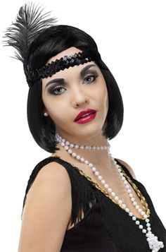 Become and instant flapper girl with this accessory kit featuring stretchy sequin headband with decorative side feather and layered pearl necklace. Gatsby Makeup, Flapper Makeup, 1920s Makeup, Flapper Hair, Flapper Headband, Flapper Dresses, 1920s Flapper, Gatsby Hair, 1920s Hair