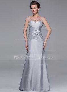 Trumpet/Mermaid Scoop Neck Floor-Length Taffeta Mother of the Bride Dress With Ruffle Beading (008025725)
