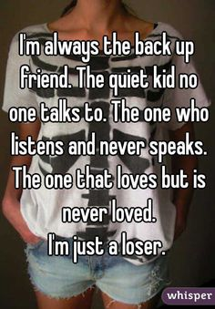 I unfortunately can relate but I wouldn't really call myself a loser Quotes Deep Feelings, Mood Quotes, Crush Quotes, Life Quotes, Qoutes, Lonely Quotes, Hurt Quotes, Real Quotes, Meaningful Quotes