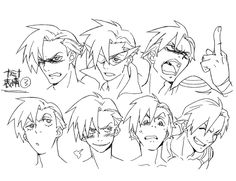 Design by Atsushi Nishigori. Character Model Sheet, Character Modeling, Character Drawing, Character Concept, Concept Art, Anime Faces Expressions, Drawing Expressions, Gurren Lagann, Animation Reference