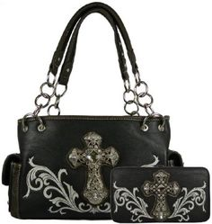 Montana West Purse Set- Satchel Handbag Faux Leather with Rhinestone Cross and Embroider Design Includes Matching Flat Wallet with Checkbook Cover- Available in 4 Colors (Black): Sale: 	$54.95 - #BlackHandbagsForGlamorousLadies