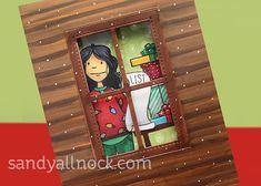 Winter Window: 2 ways! (with holiday shopper lady) | Sandy Allnock