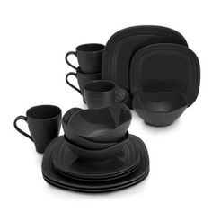 Buy Mikasa® Swirl 16-Piece Square Dinnerware Set in Black from Bed Bath & Beyond
