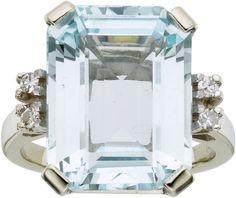 Aquamarine, Diamond, White Gold Ring