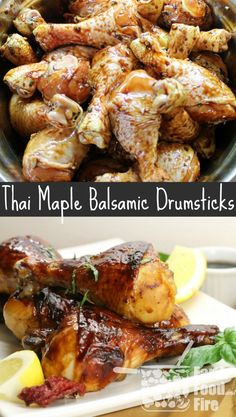 Sweet, slightly spicy and full of flavour, these Thai-Inspired Maple & Balsamic Marinated Chicken Drumsticks are a crowd pleaser. Use this marinade on chicken wings or other poultry as well! Duck Recipes, Turkey Recipes, Beef Recipes, Healthy Recipes, Budget Recipes, Wing Recipes, Healthy Meals, Asian Recipes, Easy Meals