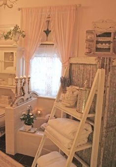 Shabby Chic bath | I like the use of the step stool as shelving