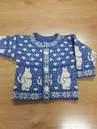Woolen knitted cardigan for children with moomin pattern Fair Isle Knitting Patterns, Knitting Designs, Knit Slouchy Hat Pattern, Les Moomins, Crochet Baby, Knit Crochet, Newborn Knit Hat, Knit Mittens, Bioshock