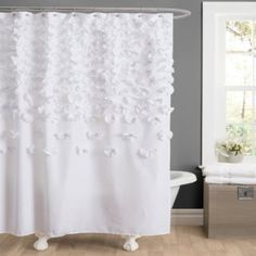 Lush Decor Lucia Shower Curtain, 72 by 72-Inch, White