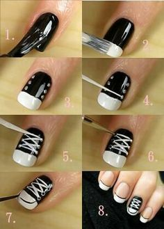 How to do a Converse nail art. Very fun and easy to do!♡
