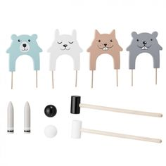 """""""ADORABLE"""" is what we at Designstuff call the Bloomingville Kid's Croquet set. This colour toy set will keep the little ones (and big ones) entertained for hours! Material: MDF, Multi-color Size: L x H x W Designed in Denmark by Bloomingville. Games For Kids, Diy For Kids, Crafts For Kids, Peluche Lion, Making Wooden Toys, Wood Games, Diy Games, Backyard Games, Baby Kind"""