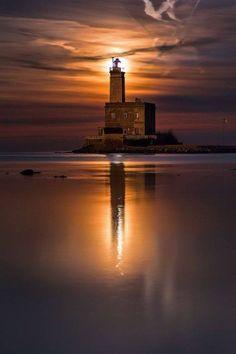 melusineh:  The Moon Dawns Over The Lighthouse Of Olbia   Sardinia   Italy   Photo By Fabio Serra
