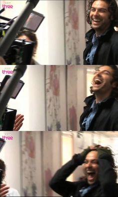 Aidan Turner Laughing Sequence (Filming Being Human BBC). He really does have a radiant smile. Aidan Turner Kili, Aidan Turner Poldark, Aiden Turner, Ross Poldark, Being Human Bbc, George Sand, Raining Men, Irish Men, British Actresses