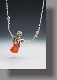"""Kim Eric Lilot """"Epiphany"""" Pendant ~ A highly sculptural, three dimensional, anatomical skeletal necklace in the artist's Memento Mori Series. Skull Necklace, Skull Jewelry, Gothic Jewelry, Cute Jewelry, Jewelry Art, Jewelry Accessories, Jewelry Necklaces, Jewelry Design, Skull Rings"""