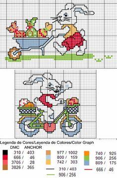 Lindos gráficos de coelhinhos para bordar e enfeitar a mesa na Páscoa. Os gráficos foram disponibilizados pela Döhler que possui ótimos ...