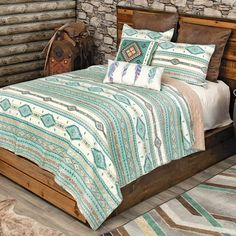 Quilt Bedding, Cotton Bedding, Western Furniture, Furniture Decor, Southwest Bedroom, Western Bedding Sets, Black Forest Decor, Morning Sky, Leather Pillow