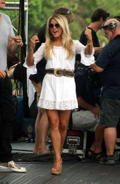 Julianne Hough. Victoria's Secret has this exact dress in pink, black, brown, and white. I just got mine!