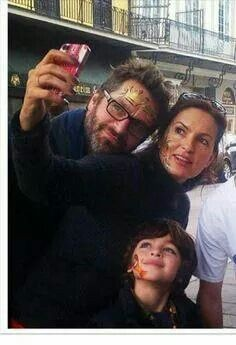 Mariska Hargitay and Peter Herman with son August after face painting