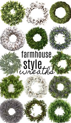 14 Farmhouse Style Wreaths Shop all the wreaths above with my affiliate links: southern magnolia wreath [HERE] lemon leaf wreath [HERE] small magnolia leaf wreath [HERE] preserved boxwood wreath [HERE] Solid cotton wr… Farmhouse Faucet, Olive Wreath, Green Wreath, Willow Wreath, Preserved Boxwood, Lavender Wreath, Lemon Wreath, Hydrangea Wreath, Lemon Leaves