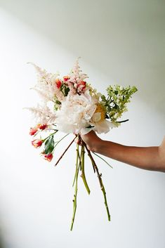 Flower-Arranging Secrets Straight From A Brooklyn Florist #refinery29  http://www.refinery29.com/diy-wedding-bouquets#slide-13  Accent flowers provide dimension, interesting texture, and a pop of color in an otherwise neutral palette. Again, keep to the rule of odd numbers and add your blooms one by one.