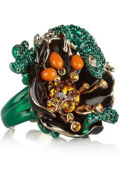 Roberto Cavalli Gold-plated Swarovski crystal ring NET-A-PORTER.COM