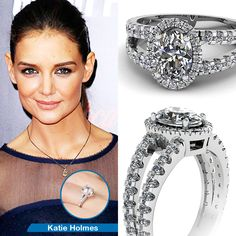 Celebrity Look Alike Engagement Ring || Open Split Ring || Oval Shaped Diamond Halo Ring With White Diamond In 950 Platinum