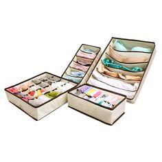 Amazon.com - MIU COLOR® Collapsible Storage Boxes Bra Underwear Closet Organizer Drawer Divider 4 set, Color: Beige - Office Desk Organizers