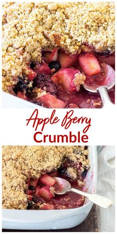 A layer of juicy fruit is topped with a crisp topping in this fabulous Apple Berry Crumble dessert that can be frozen or madeahead Oat Crumble Topping, Fruit Crumble, Pie Crumble, Blueberry Crumble, Berry Cobbler, Apple And Berry Crumble, Apple Crumble Recipe Easy, Healthy Apple Crumble, The Oatmeal
