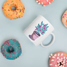 Little Flower Pot by PounceBoxArt by Caroline Coffee Shop, Coffee Mugs, Us Cup, Life Is Precious, Flower Pots, Flowers, Cute Mugs, Magnifying Glass, Mug Designs