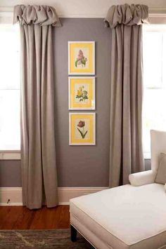 Draperies with pretty rouched heading | grey walls | yellow accent