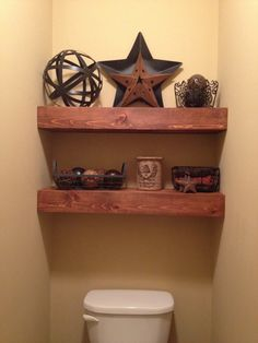 Over the toilet shelving .