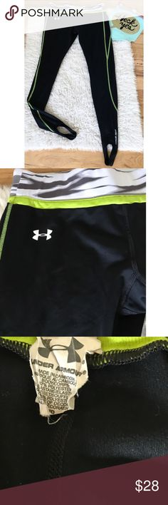 EUC Under Armour ColdGear Fitted Stirrup Leggings In excellent pre-loved black with gray and neon green trimming stirrup legging from Under Amour in size medium. No flaws. Hidden pocket inside the aidtband area. Stirrup Boston. Stretch to the legging. ❌Last pics of model is the sam style but different color and is for visual aid only. Actual legging are the flat lay photos.❌Mo trades or modeling. Always open to reasonable offers. Bundle more items together to save more. Thank you‼️ Under…