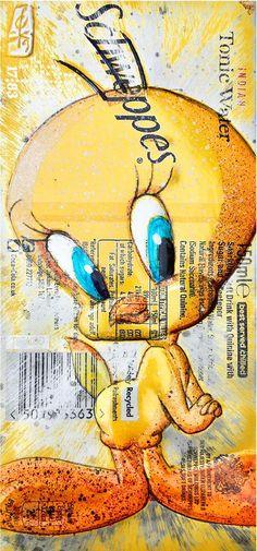 Hand Signed PRINT by Chris Duncan, Tweety Pie on Schweppes can, Comics, Fan Art, Street Art, Disney, Marvel, Fandom, Urban Art, Recycled Art