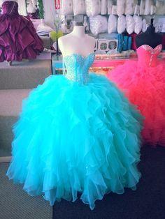 Tall Aqua Blue Masquerade Cake | Quinceanera Dresses San Antonio. http://www.sanantonioquinceanera.com ...