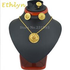 Ethlyn famoud brand New arrival Ethiopian wedding  jewelry sets Gold Color Jewelry  African bridal  jewelry sets for women