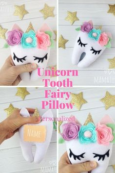 """Personalized tooth fairy pillow for girl """"Cute Unicorn """" Production time day x Please select the option you need If you chose the option Tooth Fairy Money, Tooth Fairy Receipt, Tooth Fairy Doors, Tooth Fairy Box, Tooth Pillow, Tooth Fairy Pillow, Tooth Fairy Certificate, Unicorn Ornaments, Gifts For Dentist"""