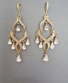 Chandelier earrings  Gold  Rhinestone by QueenMeJewelryLLC on Etsy