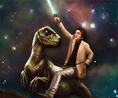 For science! No matter how impressive you think your art collection is, it'll never be 'Carl Sagan riding a dinosaur while wielding a lightsaber' impressive,...