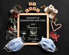 Quarantine Baby Announce - Kalina's Creations Pregnancy Announcement Pictures, Rainbow Baby Announcement, Cute Baby Announcements, Christmas Baby Announcement, Grandparent Pregnancy Announcement, New Baby Products, Christmas Maternity Photos, Christmas Pregnancy Reveal, Childbirth Education