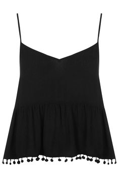 I love this top, simple and sexy- so boho chic and perfect for a Summer night!   Pom Pom Detail Cami - Tops - Clothing - Topshop  USA  
