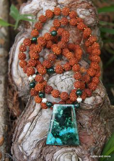 Malachite with Chrysocolla Mala from malasandmore. $30 All natural stones and beads are from India.