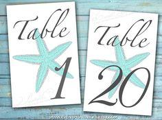 Printable Table Numbers Beach Wedding DIY Table by EventPrintables