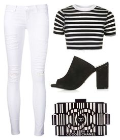 Stripes by cherieaustin on Polyvore featuring polyvore fashion style Topshop Frame Denim Chanel clothing
