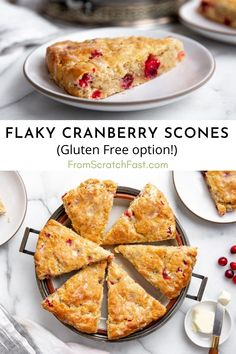 These ultra tender scones are studded with juicy cranberries and are drizzled with a creamy orange glaze. You're not going to believe how easy they are to make, and they can be made gluten free! #cranberryscones #easyscones #glutenfree #sconesrecipes Easy Gluten Free Desserts, Gluten Free Recipes For Breakfast, Allergy Free Recipes, Gluten Free Breakfasts, Brunch Recipes, Cake Recipes, Cranberry Orange Scones, Cranberries, Glutenfree