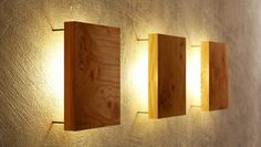 Wooden wall panel lamps