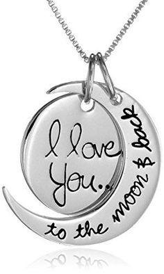 "A simple way to say I love you, the Sterling Silver ""I Love You To the Moon And Back"" Two Piece Pendant Necklace is a wonderful gift for ..."