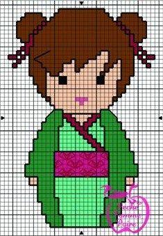 Kokeshi hama perler pattern, no color chart* Pearler Bead Patterns, Perler Patterns, Loom Patterns, Beading Patterns, Embroidery Patterns, Kawaii Cross Stitch, Cross Stitch For Kids, Cross Stitch Designs, Cross Stitch Patterns
