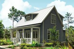 LIKE THE PORCH, WINDOWS DORMER, COLOR - WOULD ADD CHIPENDALE FLOOR PLAN Cottage Plan 443-11 front elevation